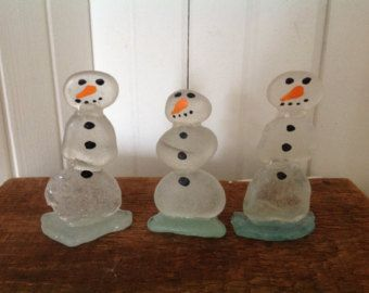 Six beach glass snowman Beach glass art by MossBetweenMyToes