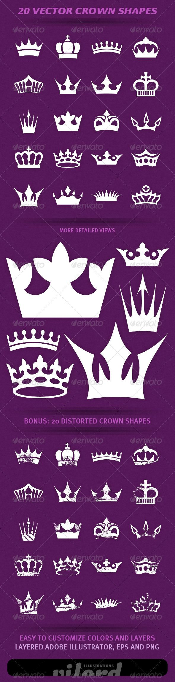 "20 Crown Shapes #GraphicRiver Set of 20 vector vintage crown shapes for your graphic designs. Great for print or web design! Enjoy Adobe Illustrator is main file and ""fully editable"". Also transparent PNG and EPS files in the package. BONUS : 20 distorted heraldry crown shapes also included. Created: 3April12 GraphicsFilesIncluded: TransparentPNG #VectorEPS #AIIllustrator Layered: Yes MinimumAdobeCSVersion: CS Tags: crests #crowns #decoration #heraldry #ornaments #print #retro #shapes…"