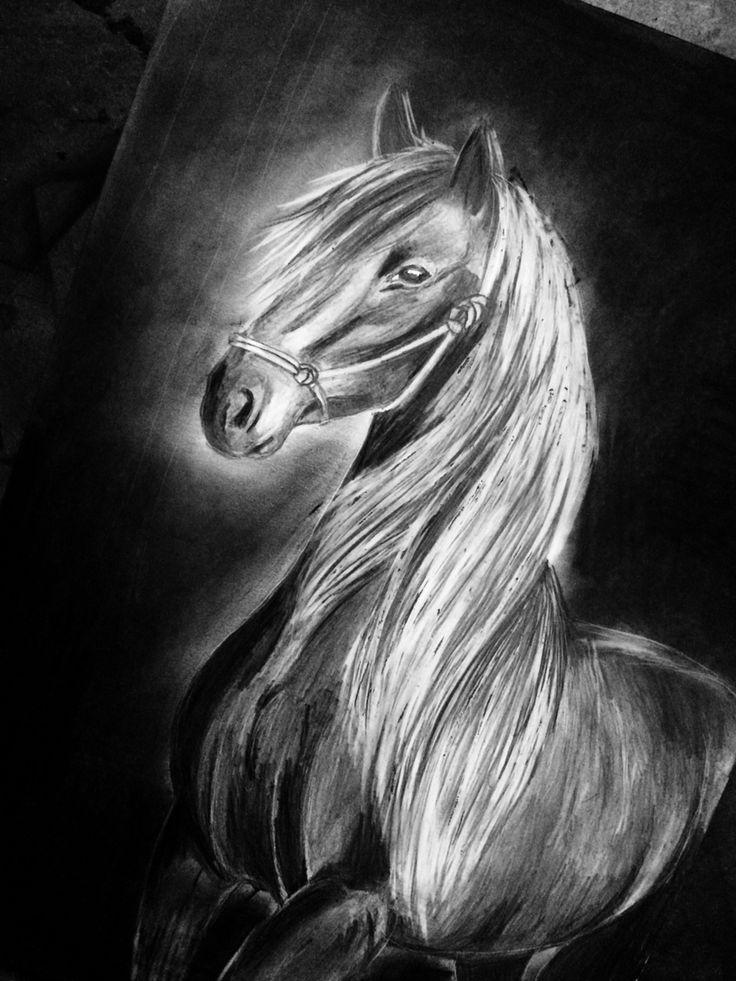 Charcoal horse by Inga Kaliszewska