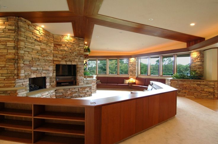 Another flw usonian home love the intimate space created for Frank lloyd wright flooring