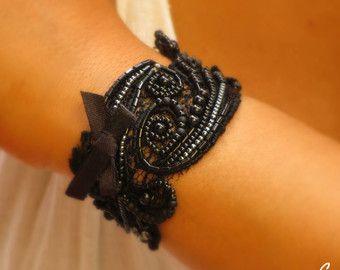 Bridal Lace Cuff Bracelet Woodland Wedding Wrist by carellya