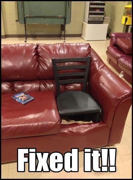 Either a redneck couch repair or a Red Green repair. Either way, it's fixed.