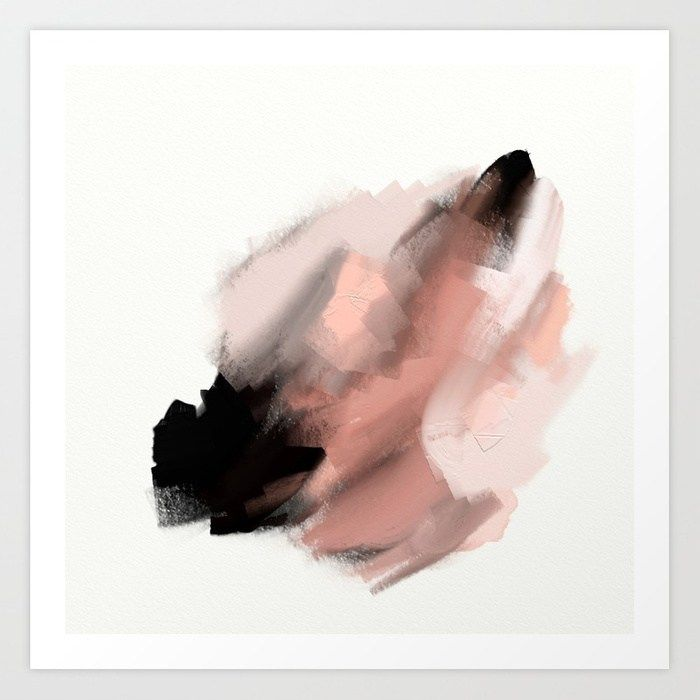 Swisher So Sweet An Abstract Painting In Millennial Pink Peach And Black Art Print By Julestillman Worldw Pink Abstract Painting Abstract Abstract Painting
