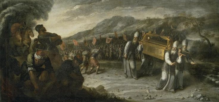 """Crossing the Jordan river with the Ark of the Covenant / El paso del río Jordán con el Arca de la Alianza // Ca. 1667 //Juan Montero de Rojas// Joshua, 3-4 // """"The priests carrying the ark of the covenant of the LORD stood on dry ground in the Jordan riverbed while all Israel crossed on dry ground,until the whole nation had completed the crossing of the Jordan."""" Joshua 3:17 #Bible #OldTestament #ArkOfTheConvenant #Joshua"""