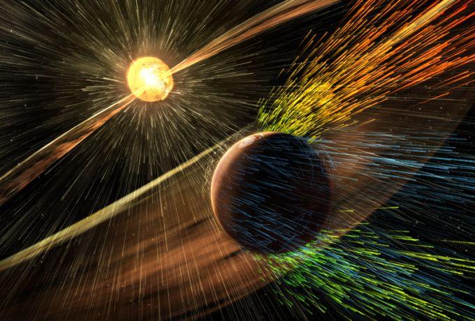 A high energy solar storm hitting Mars