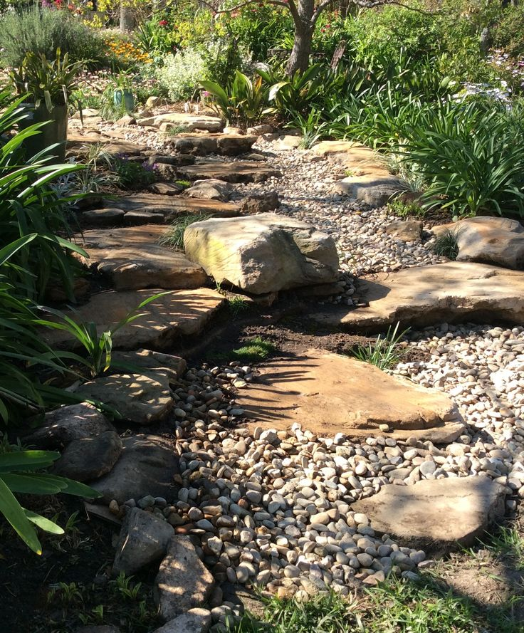 Dry creek bed ,rocks made from concrete