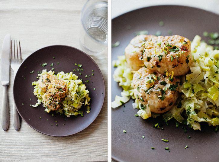 Scallops on creamy Leeks | Shellfish | Pinterest | White ...