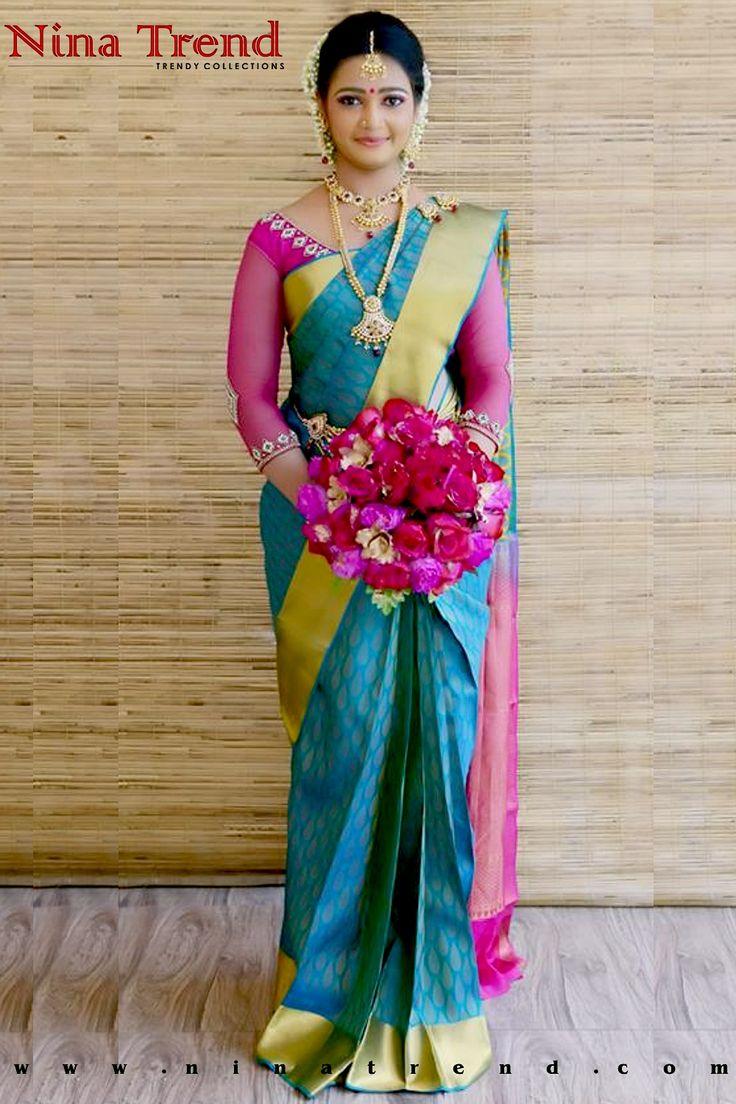 Nina Trend Online Shopping : http://www.ninatrend.com/eshop/shopping_cart.php?id=509 Silk saree, Bridal saree,south indian wedding saree, Kanchipuram silk saree,soft silk, Hindu Bridal :)