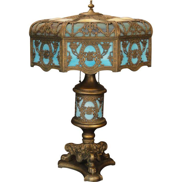 Huge Fabulous Empire 26 Panel Cupid U0026 Flower Basket Bump Slag Glass Lighted  Base Lamp