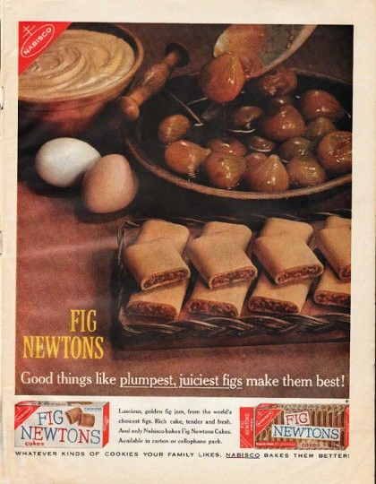 """1961 FIG NEWTONS vintage magazine advertisement """"Good things"""" ~ Good things like plumpest, juiciest figs make them best! - Luscious, golden fig jam, from the world's choicest figs. Rich cake, tender and fresh. And only Nabisco bakes Fig Newtons ..."""