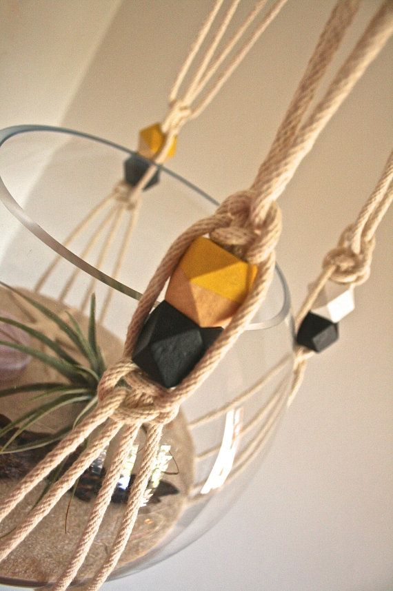 Macrame planter Hanging pot plant hanger geometric by macandmore, $69.00. Wow this is a blast from the past. Last one I made was in 1975!