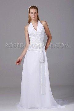 Robe de mariée grande taille fourreau bretelles au cou appliques chiffon