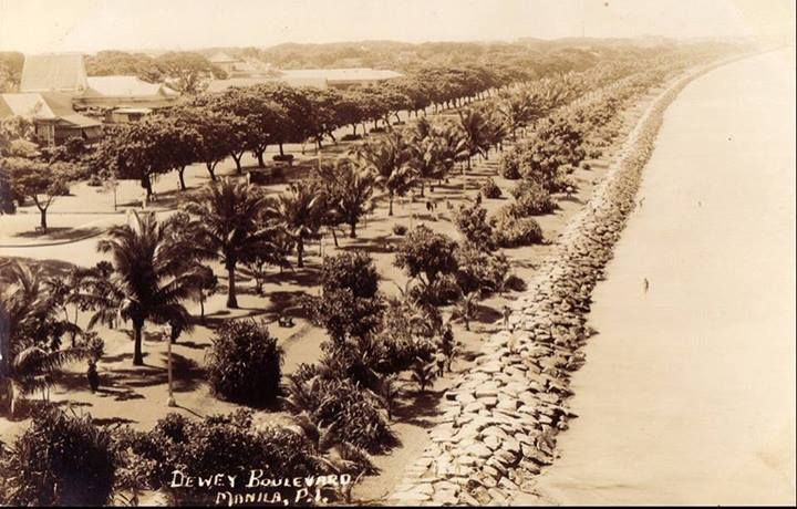"""Roxas Boulevard mid 1930s Formerly known as Dewey Boulevard,Originally called Cavite Boulevard,it was renamed Dewey Boulevard in honor of the American Admiral George Dewey, who under his command defeated the Spanish navy in the Battle of Manila Bay in 1898. The boulevard was again renamed to """"Heiwa Boulevard"""" in late 1941 during Japanese Home Rule and Roxas Boulevard in the 1960s to honor President Manuel Roxas, the fifth president of the Republic of Philippines."""