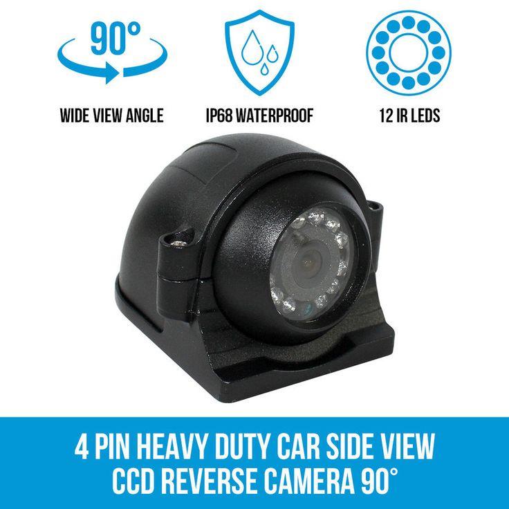 4 PIN Heavy Duty Car Side View CCD Reverse Camera 90° Waterproof Truck Caravan