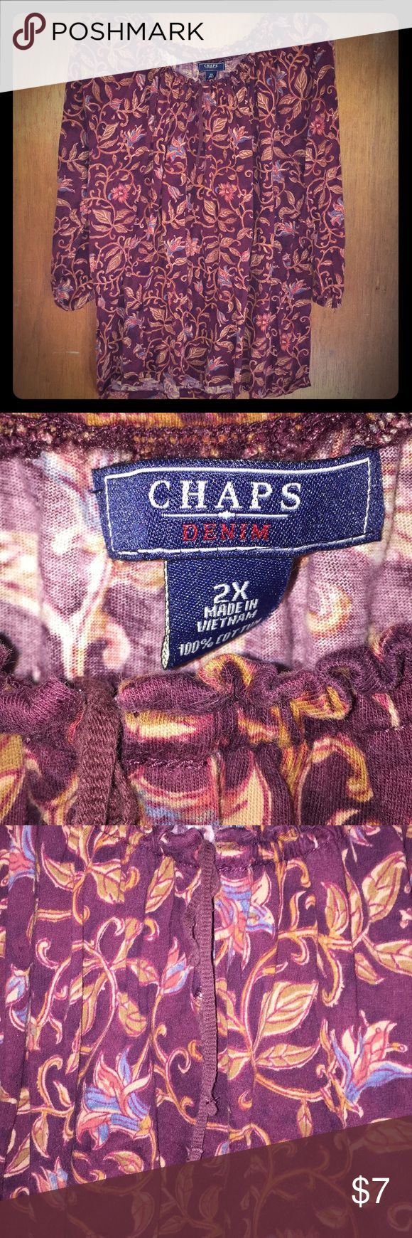 Chaps denim maroon floral Bardot top 3/4 sleeve 2X Chaps denim maroon floral Bardot top 3/4 sleeve size 2X 100% cotton Sleeves have elastic at the end Bardot top with string tie Good condition, pilling on fabric, no holes, rips, stains or tears   Length: 22 inches Width: 22 inches Chaps Tops Tees - Long Sleeve