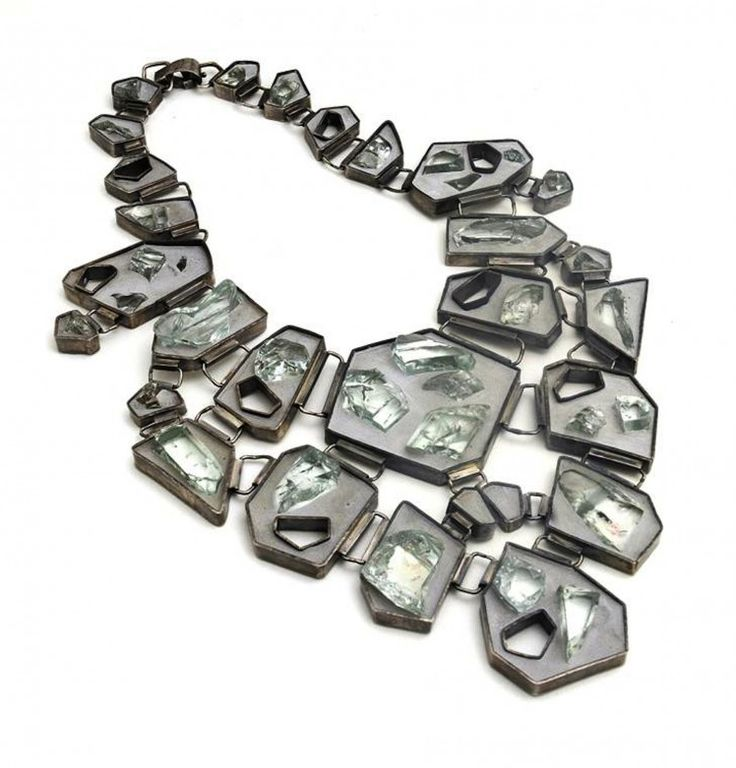 "Tara Locklear, ""Unbridled Royalty Necklace,"" 2011. Cement, reclaimed glass, sterling silver. Photo by Tara Locklear."