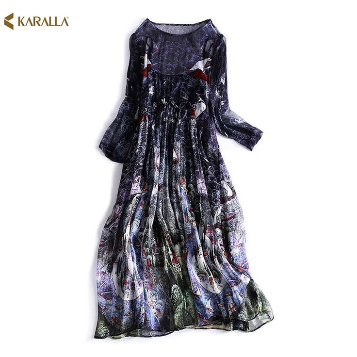 2017 women spring  runway fashion printing ink loose thin and long sections of two sets vanguard sericulture silk  dress D0525