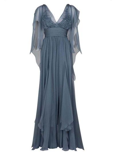 Diamond Lace Batwing Sleeve V-Neck Women's Maxi Dress