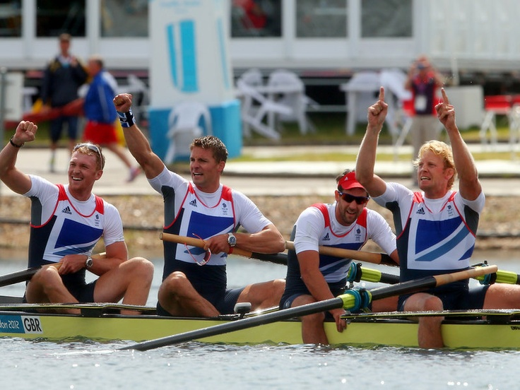 Eton Dorney was the scene of celebration just before midday when the men's four - Alex Gregory, Pete Reed, Tom James and Andrew Triggs Hodge - won gold.