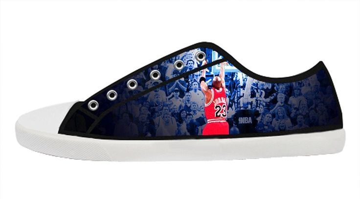 Custom Women's Black Lace-up Low Top Canvas Sneakers Creative and Personalized NBA Michael Jordan Casual Shoes ^^ Additional info  : Jordan sneakers and shoes