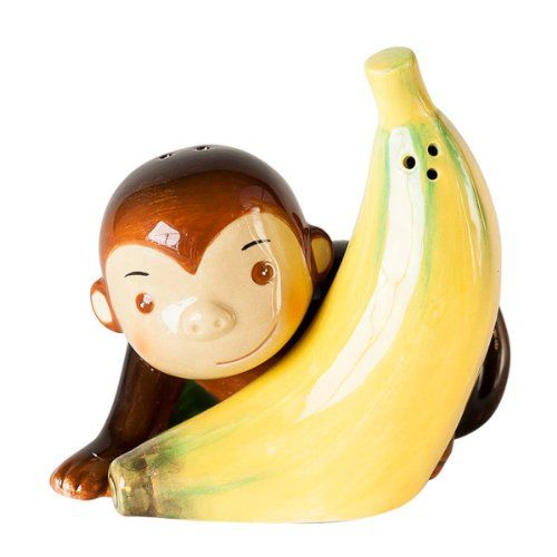 """Fabulous gift - everyone knows a """"monkey"""" who deserves their own set! Separate the monkey from his banana for the shaker. Amazon.com: Don't Monkey with Me and My Banana Magnetic Salt and Pepper Shaker Set:"""
