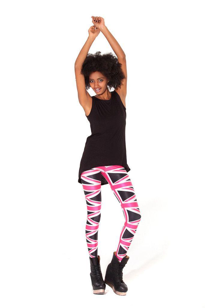 Union Jack Pink/Black Leggings