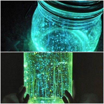 """Sounds like a great party idea for older kids!    Fairies in a jar.  DIRECTIONS:  1. Cut a glow stick and shake the contents into a jar. Add diamond glitter  2. Seal the top with a lid.  3. Shake. (fairy dust glitter found at Joann's Fabrics) """"Be sure to read the warning on the back of the glowstick package. The ones I used were nontoxic but will stain clothes. Also, I used glowstick necklaces with the thought that it would be easier to cut than a thick glow stick."""""""