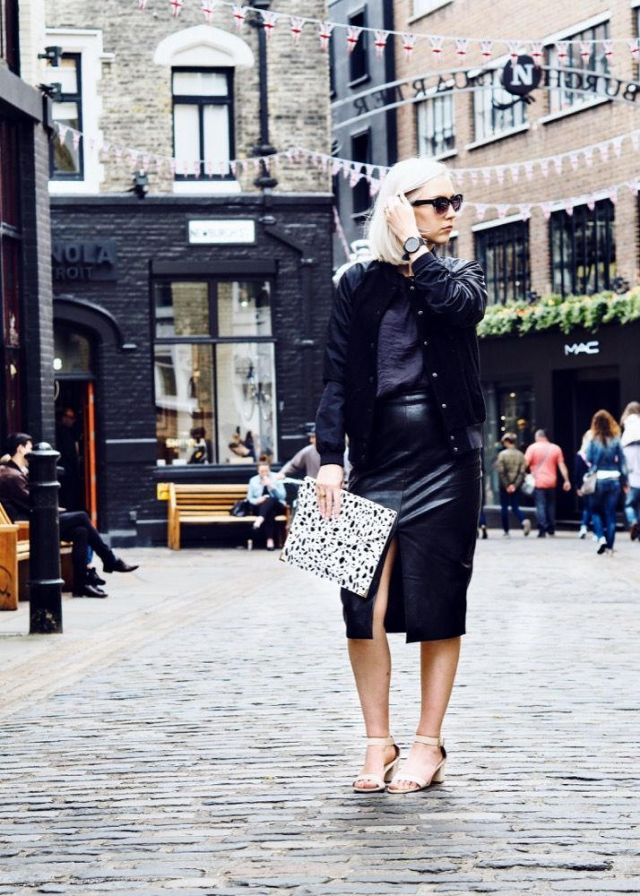 Dressing up a black bomber or dressing down a leather pencil skirt?! Either way it works. The nike varsity jacket helps to make this skirt which would normally feel way too grown up for me, manageable. The heels aren't too high. I think they are perfect mum heels (meels if you will). A little pop of fun is added with a monochrome printed clutch. See more shots from this outfit I wore to Sketch for afternoon tea over on my blog!
