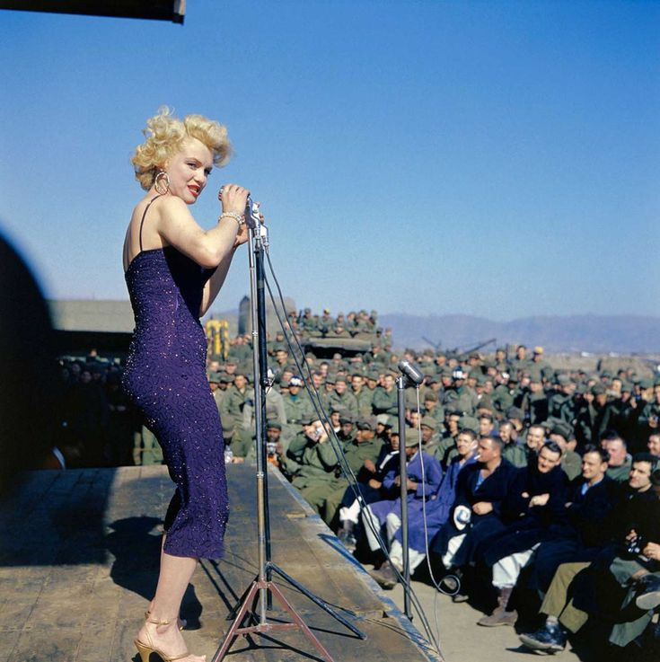 Inspiration. Marilyn Monroe Performing for the Thousands of American Troops in Korea, February 1954
