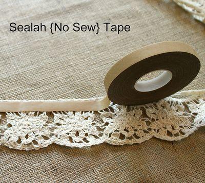 LOOK! It's a No-Sew Table Runner!! Burlap and Lace!! DIY using Sealah no-sew adhesive.