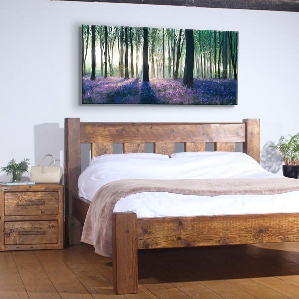 English Beam Marlow Reclaimed Wood Bed with Sheepskin