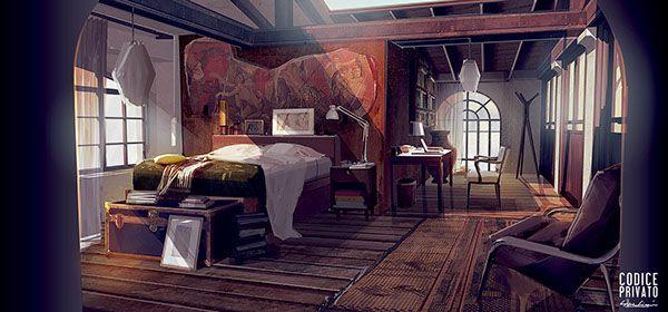 Environment interior - Bedroom  Cinema set Codice Privato by Silva Giovanni