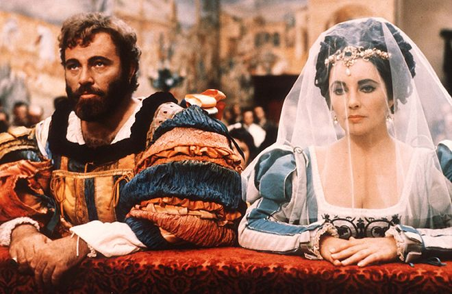 Ричард Бертон и Элизабет Тейлор на съемках фильма «Укрощение строптивой», 1973
