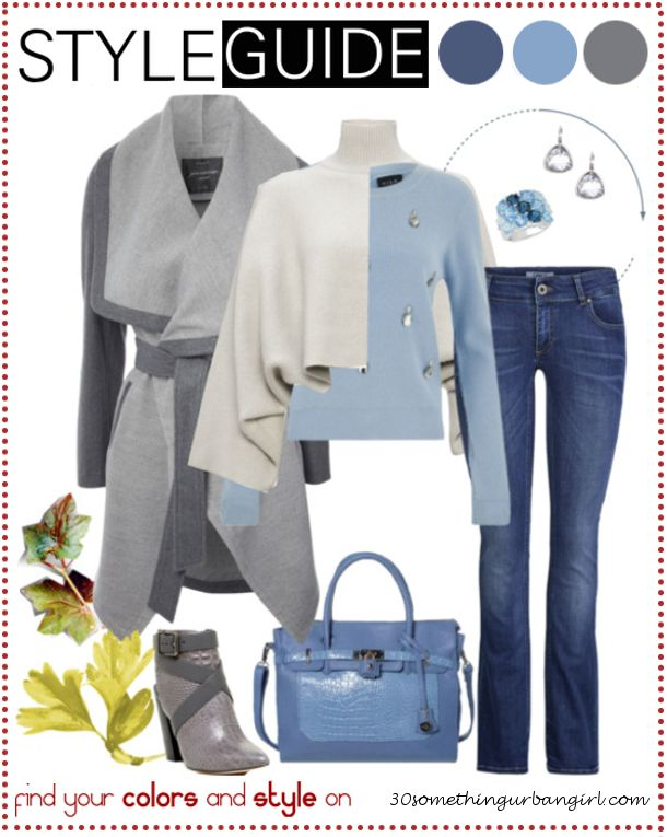Bundle up for cold weather, casual outfit tip for Soft Summers   Find your best colors and style on www.30somethingurbangirl.com