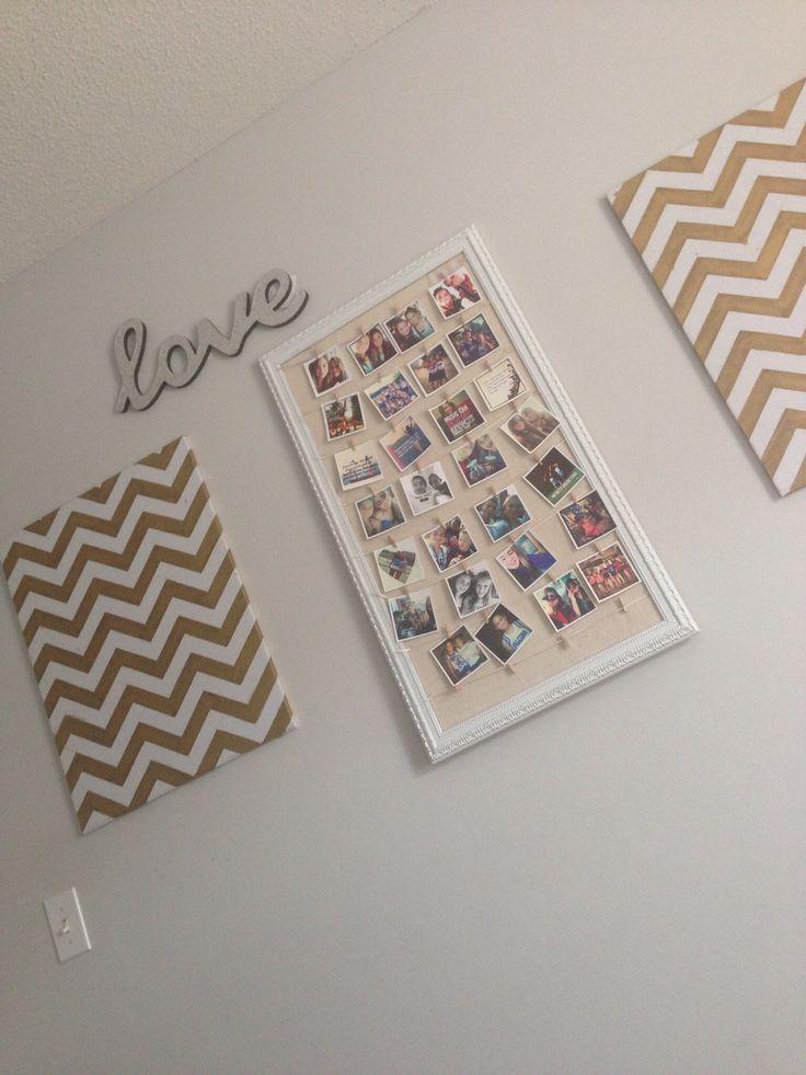 Instagram Picture Display Gold Chevron Metallic Canvas Memo Boards Teen Tween Bedroom Ideas