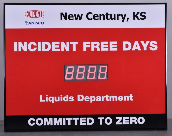 """Dupont Dansico New Century, KS  Incident Free Days Liquids Department. Commited To Zero.  22""""h X 28""""w Safety Scoreboard Sign with One 4 digit 2.3"""" Display Manufacturer part number: 2228-1U Manufacturer: Cousign   #dupont #danisco #liquids #kansas #safetyfirst #safety"""