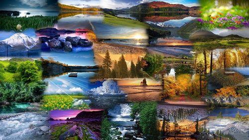 Обои Коллаж, состоящий из фотографий, запечатляющих пейзажи гор, озер, морей, лугов, лесов и других элементов природы