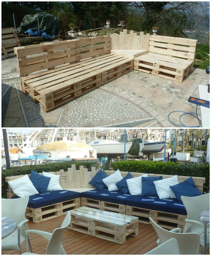 #Outdoor, #PalletCouch, #PalletGardenSet, #PalletLounge, #PalletSofa, #RecyclingWoodPallets We built this Outdoor Pallet Sectional Set out of 12 pallets, and it took us about 12 hours. This will turn any boring deck or patio area into an outdoor area that encourages everyone to come outside!   Outdoor Pallet Sectional Set: We started
