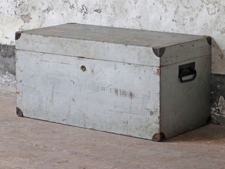 A pale grey authentic shabby chicold tool chest with distinctive faded distressed handwritten painted graphics on the top surface. #storagechest #furniture #vintagefurniture
