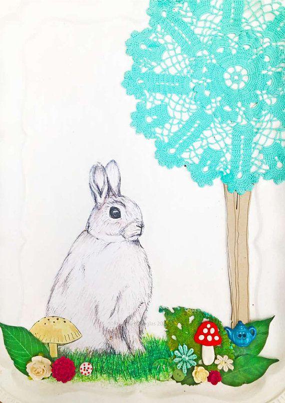 Bunny Rabbit Art Print - A4 size Mixed media 3d Collage Art instant download printable Bedroom Decor Digital Illustration