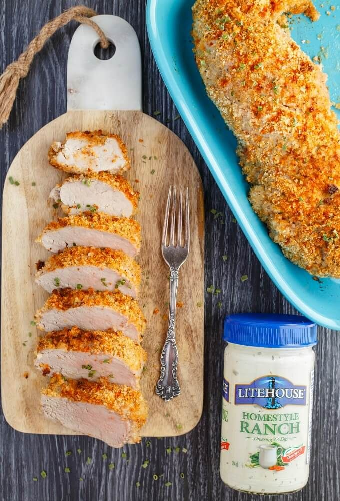 Breaded Ranch Pork Tenderloin | #easydinner #breaded #ranch #dinner #pork #recipe | Seriously, it does not get any easier! Dinner will be a breeze as there are few ingredients in this recipe (the key one being ranch dressing!) Budget-friendly recipe as well so you don't have to feel guilty during the holiday season! Breading can easily be made gluten-free by subbing in gluten-free breadcrumbs!