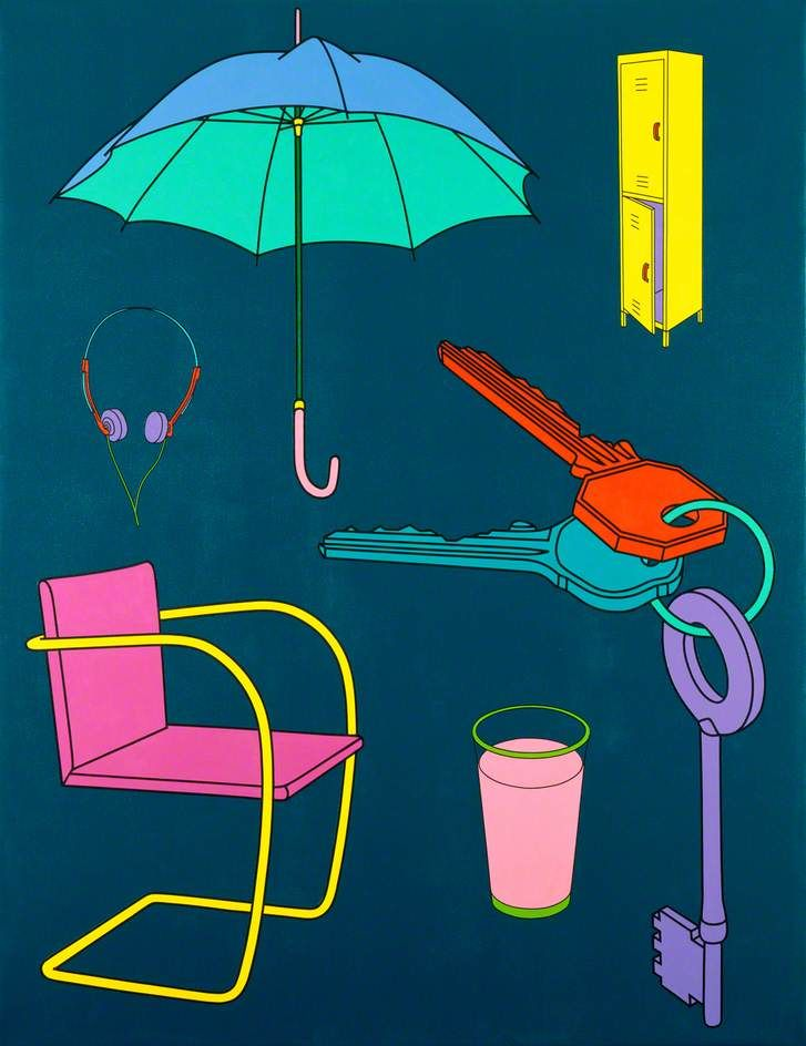 Untitled  by Michael Craig-Martin       Date painted: 1998  Acrylic on canvas, 198.5 x 152.5 cm  Collection: Government Art Collection  In this bold painting ordinary objects are depicted against a coloured background, neither touching nor overlapping one another. These discrete images appear unrelated to each other conceptually as well as compositionally.