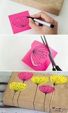 Wrap a gift in brown paper and decorate with post its! Perfect for kids who want to decorate gifts they are bringing to a birthday party.