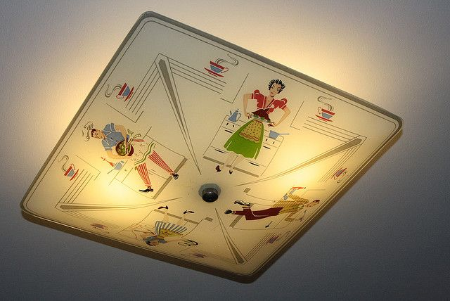 Would love to have this on every light in my vintage kitchen (bucket list) Fabulous kitchen light from the 1950s