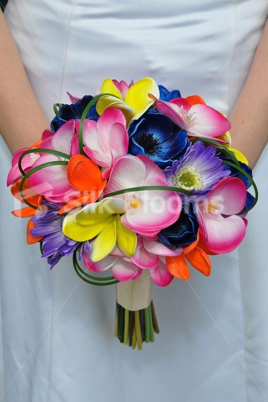 Tropical Pink Phalaenopsis Orchid, Gerbera, Blue Anemone and Orange Frangipani Bridal Bouquet #artificial #wedding #flowers #bridal #bouquet #frangipani #plumeria #tropical #gerberas #purple #anemones