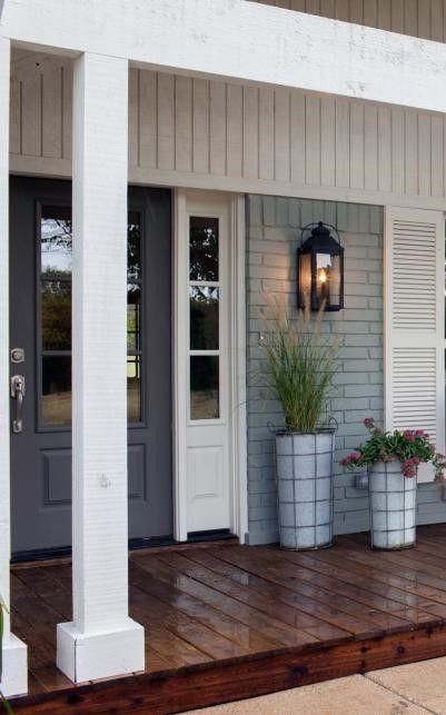 Front Door Porch Light Planters Pots Exterior Landscaping