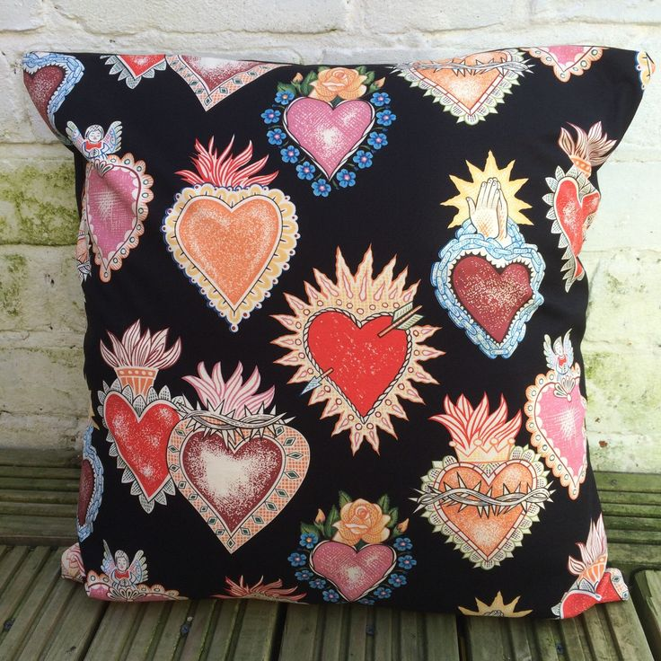 Corazon Tattoo Hearts Cushion Cover (Alexander Henry fabric) by LilMissWednesday on Etsy https://www.etsy.com/listing/270463860/corazon-tattoo-hearts-cushion-cover