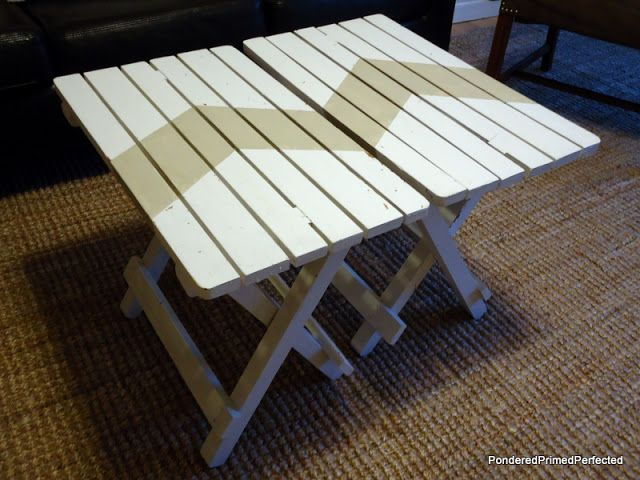 Little Wooden Folding Tables   Painted.