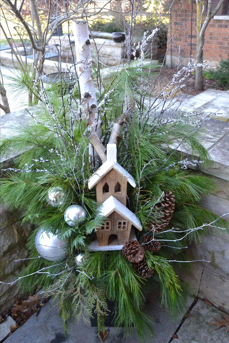510 best Winter Containers images on Pinterest | Christmas decor ...