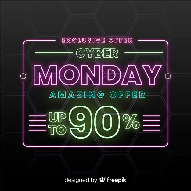 Download Cyber Monday Concept With Neon Background For Free Neon Backgrounds Vector Free Neon